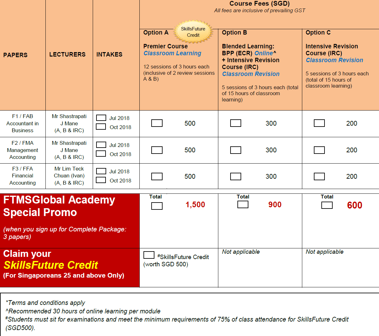 ACCA Course Fees | FTMSGlobal Academy, Singapore