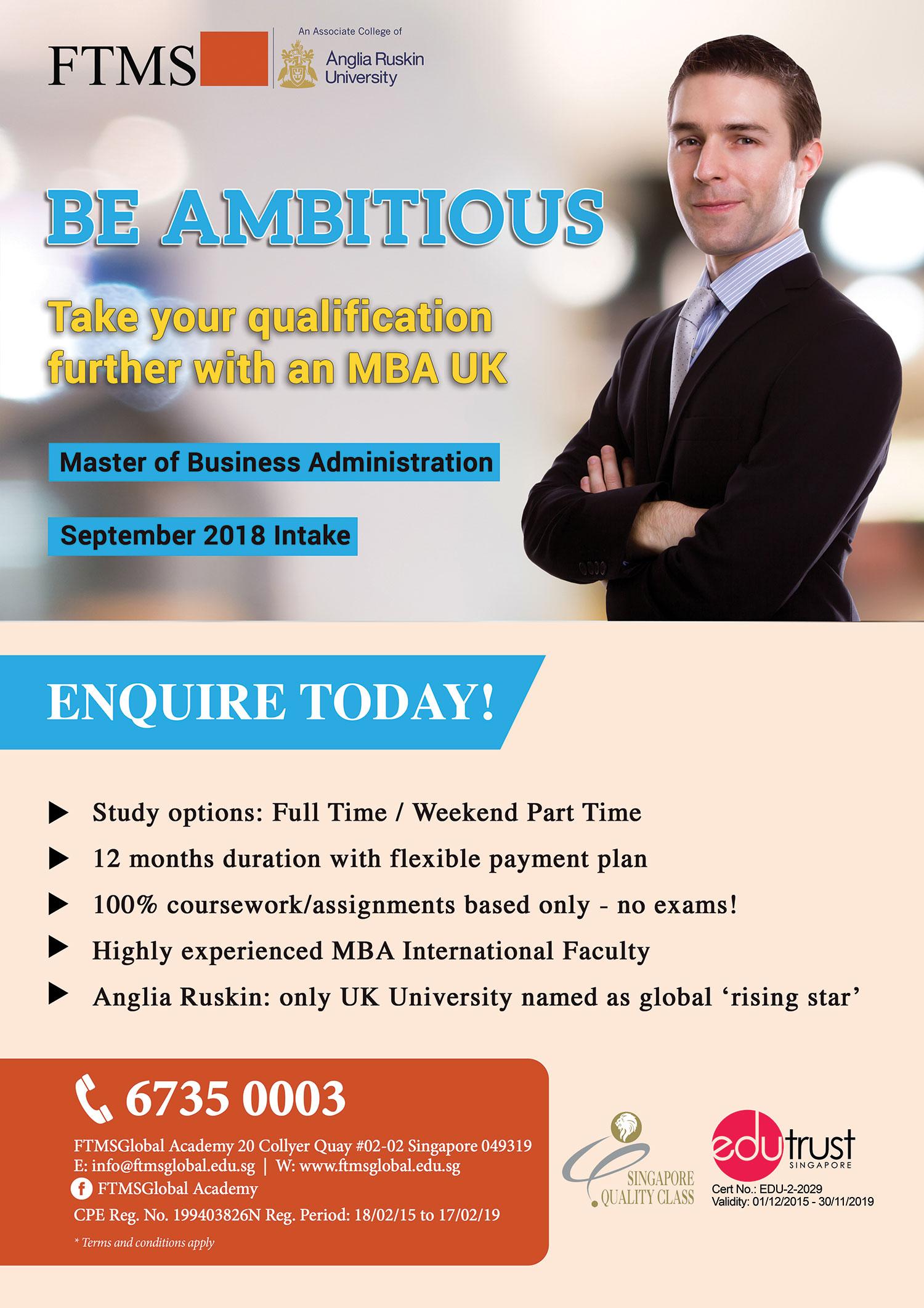 Mba Promotions Singapore Anglia Ruskin University Mba Uk