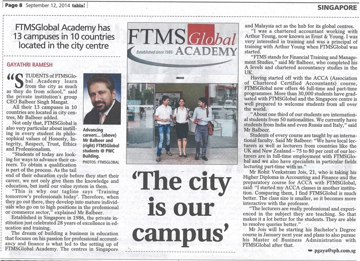 Tabla Newspaper Editorial Write Up For FTMS 12 Sept